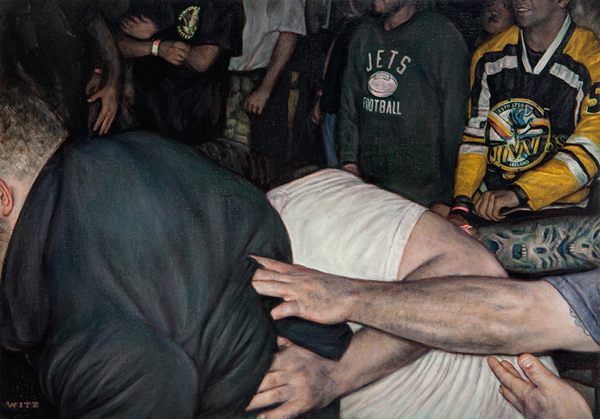 Dan Witz -  <strong>Mosh Pit Study (Jets)</strong> (2014<strong style = 'color:#635a27'></strong>)<bR /> oil on canvas, 14 x 20 inches (35.6 x 50.8 cm) framed