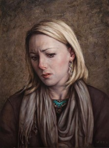 Dan Witz -  <strong>Sandi (Sorrowing)</strong> (2016<strong style = 'color:#635a27'></strong>)<bR /> oil on canvas, 23 x 18 inches (58.4 x 45.7 cm) framed
