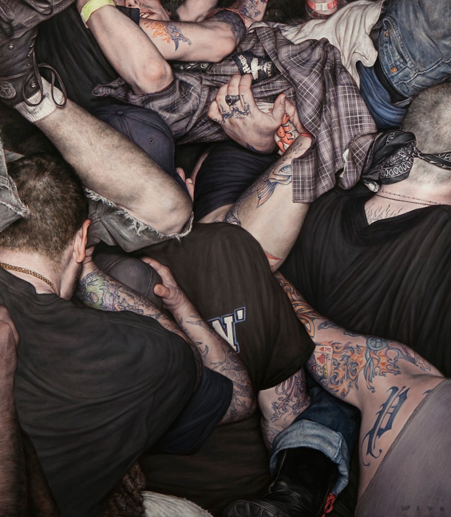 Dan Witz -  <strong>Scrum 1 (King of Hearts)</strong> (2015<strong style = 'color:#635a27'></strong>)<bR /> oil on canvas, 49 x 43 inches  (124.5 x 109.2 cm) framed