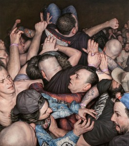 Dan Witz -  <strong>Scrum 2 (All Out War)</strong> (2015<strong style = 'color:#635a27'></strong>)<bR /> oil on canvas, 49 x 43 inches  (124.5 x 109.2 cm) framed