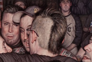 Dan Witz -  <strong>Scrum 3 (System of a Down)</strong> (2015<strong style = 'color:#635a27'></strong>)<bR /> oil on canvas, 16 x 22.5 inches (40.6 x 57.2 cm) framed