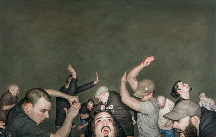 Dan Witz -  <strong>Sick of It All</strong> (2015<strong style = 'color:#635a27'></strong>)<bR /> oil on canvas, 49 x 77 inches (124.5 x 195.6 cm) framed