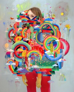 Erik Jones -  <strong>Cocoon</strong> (2016<strong style = 'color:#635a27'></strong>)<bR /> watercolor, colored pencil, acrylic, wax pastel, assorted paper and sticker collage on Rives BFK paper mounted to wood panel, 60 x 48 in. (152.4 x 121.9 cm)