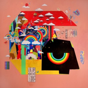 Erik Jones -  <strong>Home</strong> (2016<strong style = 'color:#635a27'></strong>)<bR /> colored pencil, acrylic, wax pastel, assorted paper and stickers collage on Rives BFK paper mounted to wood panel, 48 x 48 in. (121.9 x 121.9 cm)