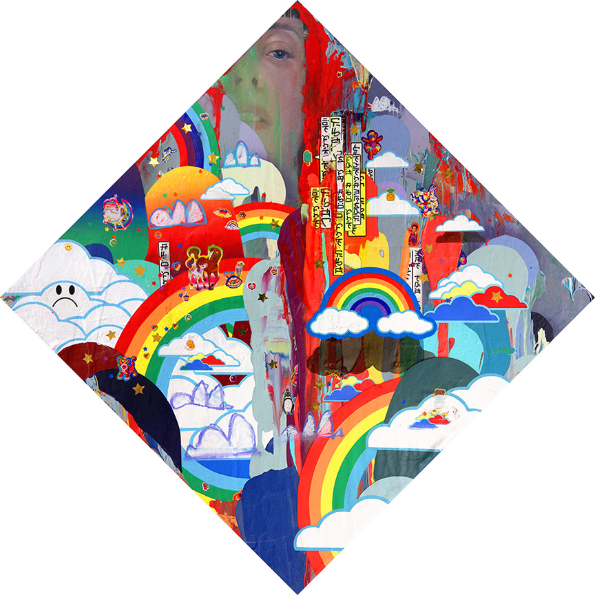 Erik Jones -  <strong>The Big Rock</strong> (2016<strong style = 'color:#635a27'></strong>)<bR /> watercolor, colored pencil, acrylic, wax pastel, assorted paper and sticker collage on Rives BFK paper mounted to wood panel, 24 x 24 in. (61 x 61 cm)
