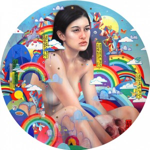 Erik Jones -  <strong>The End is Near</strong> (2016<strong style = 'color:#635a27'></strong>)<bR /> watercolor, colored pencil, acrylic, wax pastel, assorted paper and sticker collage on Rives BFK paper mounted to wood panel  36 inch diameter  (91.44 cm diameter)