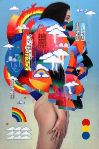 Erik Jones -  <strong>The Games</strong> (2016<strong style = 'color:#635a27'></strong>)<bR /> watercolor, colored pencil, acrylic, wax pastel, assorted paper and sticker collage on Rives BFK paper mounted to wood panel, 36 x 24 in. (91.4 x 61 cm)