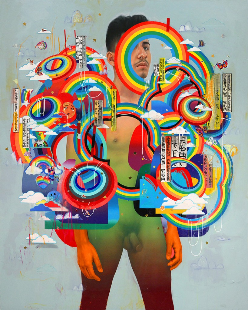 Erik Jones -  <strong>The Giver</strong> (2016<strong style = 'color:#635a27'></strong>)<bR /> watercolor, colored pencil, acrylic, wax pastel, assorted paper and sticker collage on Rives BFK paper mounted to wood panel, 60 x 48 in. (152.4 x 121.9 cm)