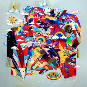 Erik Jones -  <strong>The Nation</strong> (2016<strong style = 'color:#635a27'></strong>)<bR /> watercolor, colored pencil, acrylic, wax pastel, assorted paper and sticker collage on Rives BFK paper mounted to wood panel, 60 x 60 in. (152.4 x 152.4 cm)