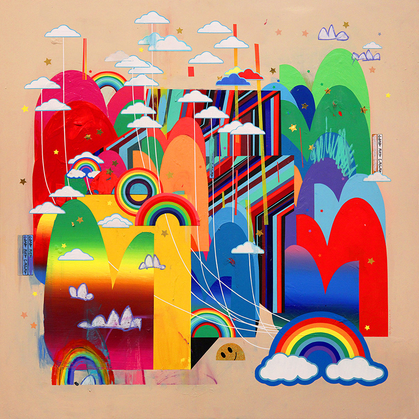 Erik Jones -  <strong>The State</strong> (2016<strong style = 'color:#635a27'></strong>)<bR /> acrylic, wax pastel, assorted paper and sticker collage on Rives BFK paper mounted to wood panel 36 x 36 in. (91.4 x 91.4 cm)