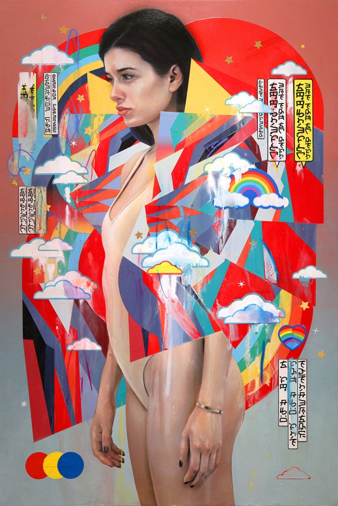 Erik Jones -  <strong>The Watchers</strong> (2016<strong style = 'color:#635a27'></strong>)<bR /> watercolor, colored pencil, acrylic, wax pastel, assorted paper and sticker collage on Rives BFK paper mounted to wood panel, 36 x 24 in. (91.4 x 61 cm)