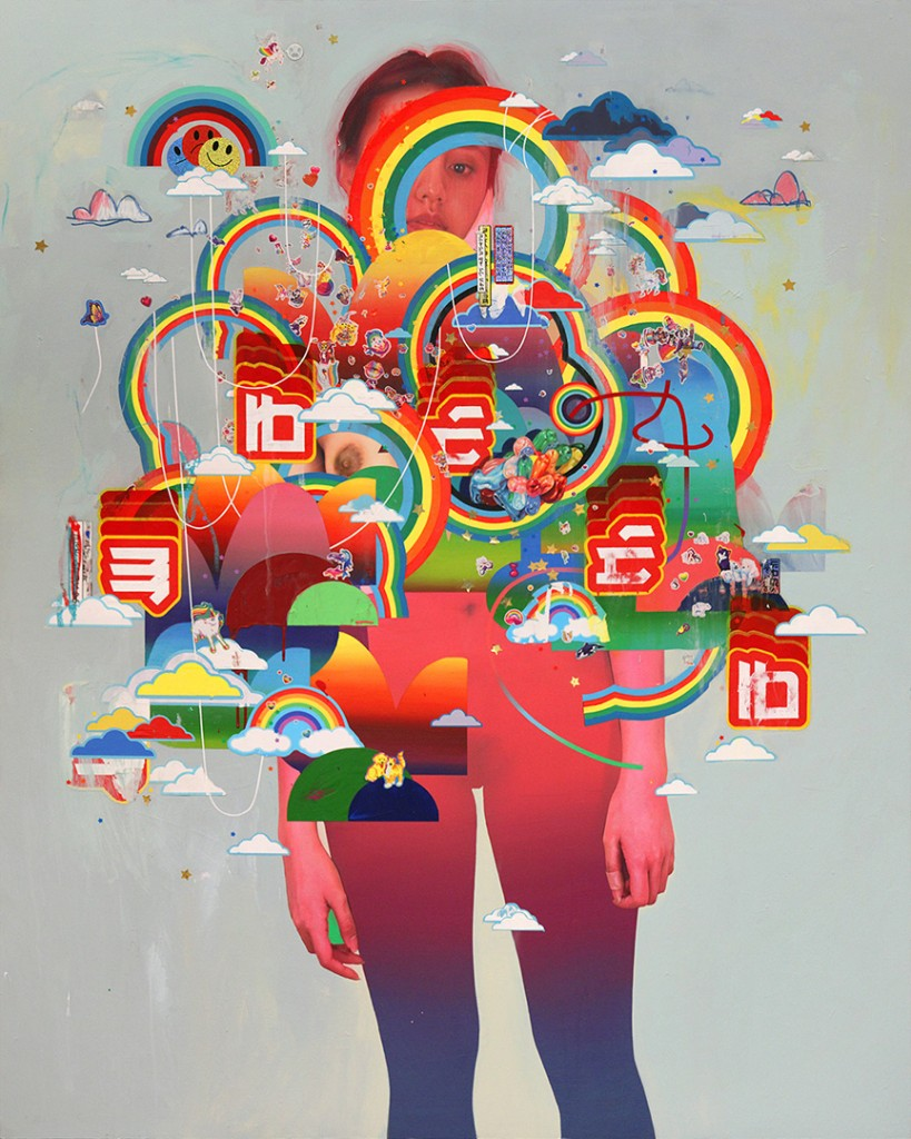 Erik Jones -  <strong>The Greeter</strong> (2016<strong style = 'color:#635a27'></strong>)<bR /> watercolor, colored pencil, acrylic, wax pastel, assorted paper and sticker collage on Rives BFK paper mounted to wood panel, 60 x 48 in. (152.4 x 121.9 cm)