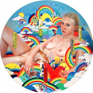 Erik Jones -  <strong>Where the Gods Go</strong> (2016<strong style = 'color:#635a27'></strong>)<bR /> watercolor, colored pencil, acrylic, wax pastel, assorted paper and sticker collage on Rives BFK paper mounted to wood panel 36 inch diameter,  (91.44 cm diameter)