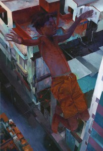 Andrew Hem -  <strong>All the Way</strong> (2016<strong style = 'color:#635a27'></strong>)<bR /> acrylic on linen wrapped panel, 36 x 25 inches, (91.44 x 63.5 cm) $5,000