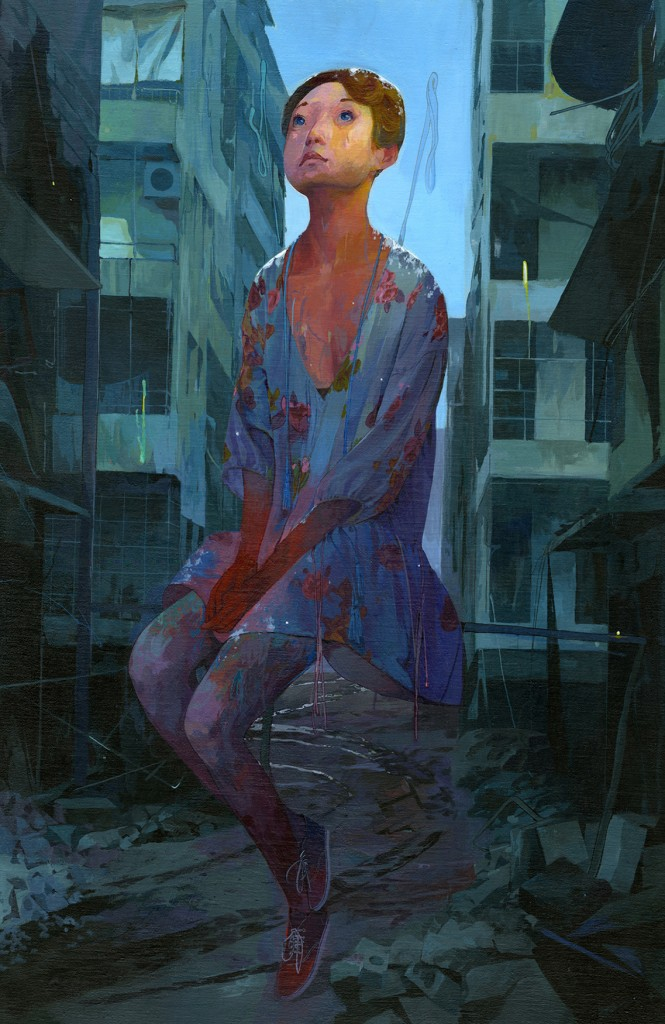 Andrew Hem -  <strong>Remember</strong> (2016<strong style = 'color:#635a27'></strong>)<bR /> acrylic on linen wrapped panel, 36 x 24 inches, (91.44 x 60.96 cm) $4,800