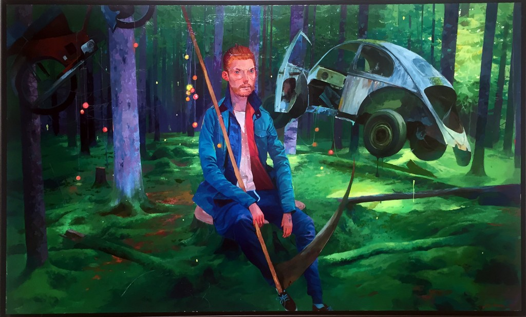 Andrew Hem -  <strong>Time Stops</strong> (2016<strong style = 'color:#635a27'></strong>)<bR /> acrylic on panel, 24 x 40 inches,  (60.96 x 101.6 cm), framed: 25 x 41 inches,  (63.5 x 104.14 cm) $5,400