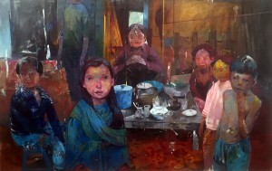 Andrew Hem -  <strong>Village</strong> (2016<strong style = 'color:#635a27'></strong>)<bR /> acrylic on linen,  62 x 96 inches,  (157.48 x 243.84 cm), $15,000
