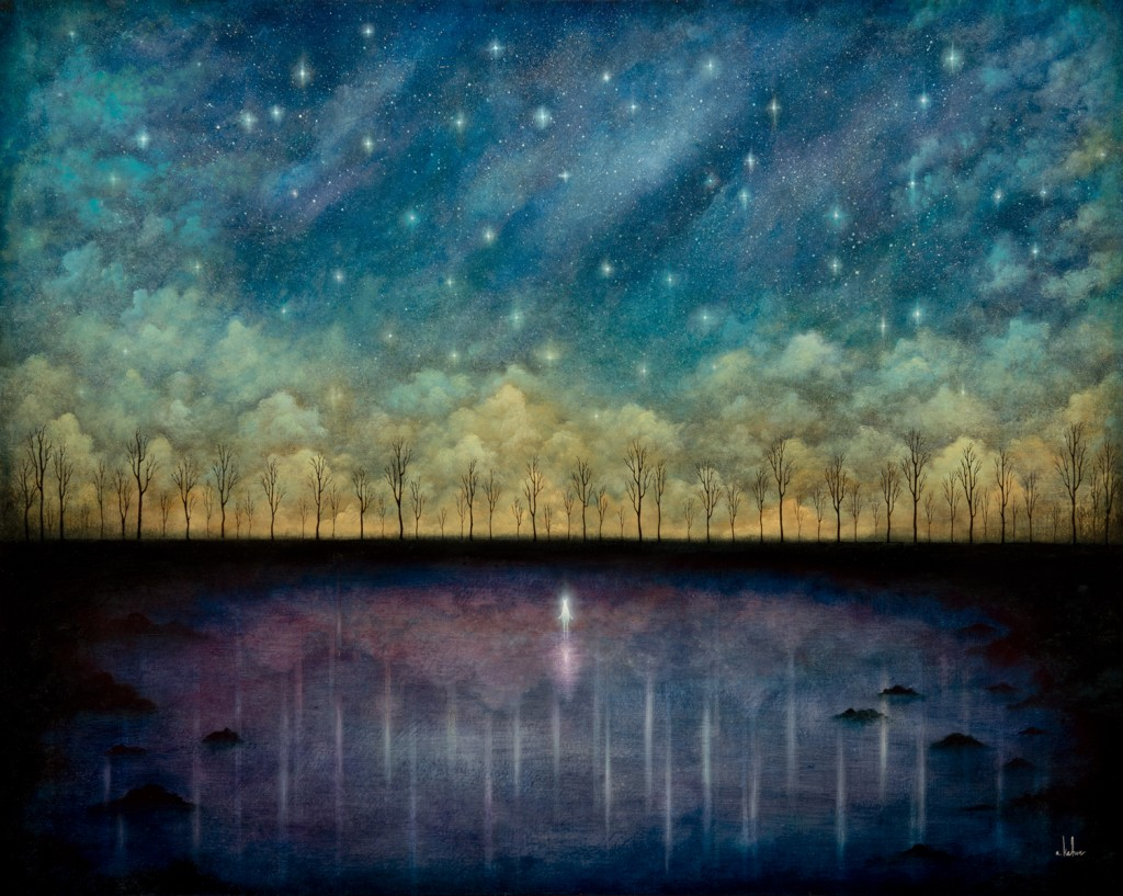 Andy Kehoe -  <strong>Celestial Requiem for a Fallen Light</strong> (2016<strong style = 'color:#635a27'></strong>)<bR /> oil and acrylic on wood panel, 30 x 24 inches, (76.2 x 60.96 cm)