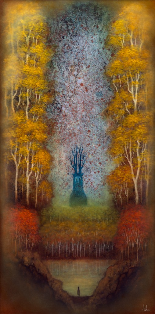 Andy Kehoe -  <strong>Dreamscape Wanderer</strong> (2016<strong style = 'color:#635a27'></strong>)<bR /> oil, acrylic and resin in cradled wood panel, 16 x 30 inches, (40.64 x 76.2 cm)