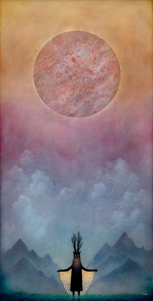Andy Kehoe -  <strong>Embrace the Aberrant Dawn</strong> (2016<strong style = 'color:#635a27'></strong>)<bR /> oil, acrylic and resin in cradled wood panel, 16 x 30 inches, (40.64 x 76.2 cm)