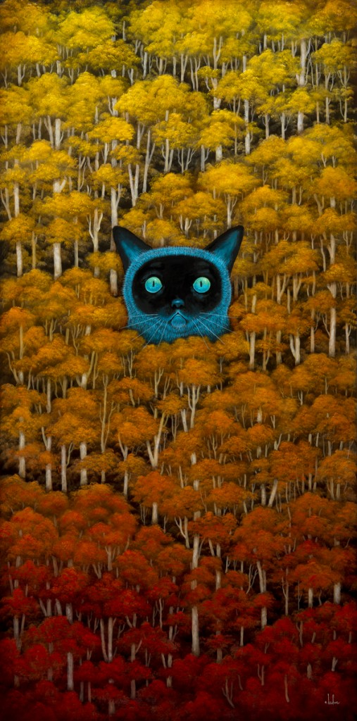 Andy Kehoe -  <strong>Eyes of the Wild Wonder</strong> (2016<strong style = 'color:#635a27'></strong>)<bR /> oil and acrylic on wood panel, 18 x 36 inches, (45.72 x 91.44 cm)