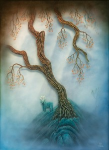 Andy Kehoe -  <strong>Far Serenity</strong> (2016<strong style = 'color:#635a27'></strong>)<bR /> oil, acrylic, polymer clay and resin in cradled wood panel, 18 x 24 inches, (45.72 x 60.96 cm) $6,000