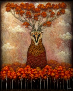 Andy Kehoe -  <strong>Forest Sentinel 1</strong> (2016<strong style = 'color:#635a27'></strong>)<bR /> oil, acrylic and resin in cradled wood panel, 24 x 20 inches, (60.96 x 50.8 cm)