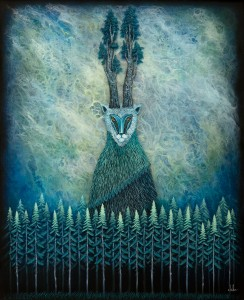 Andy Kehoe -  <strong>Forest Sentinel 2</strong> (2016<strong style = 'color:#635a27'></strong>)<bR /> oil, acrylic and resin in cradled wood panel, 24 x 20 inches, (60.96 x 50.8 cm)