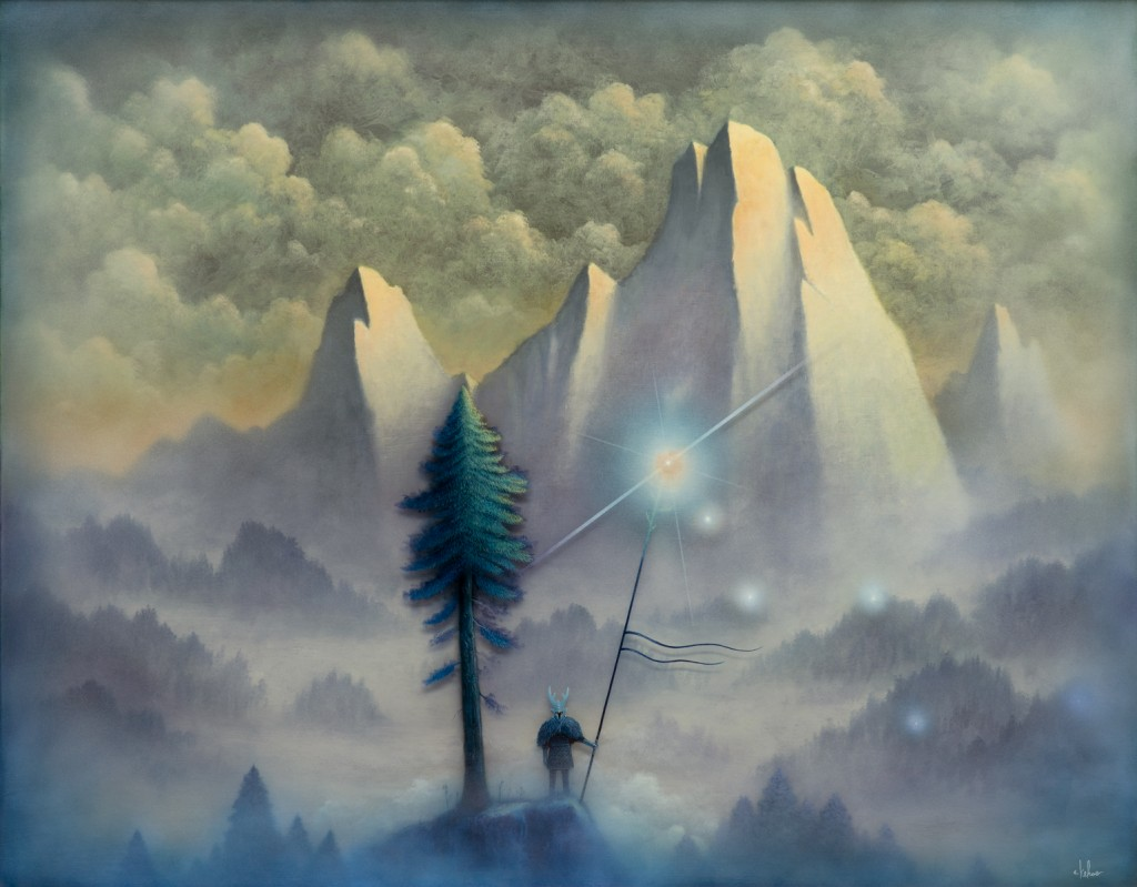 Andy Kehoe -  <strong>Illuminating Lands of Shadow</strong> (2016<strong style = 'color:#635a27'></strong>)<bR /> oil, acrylic and resin in cradled wood panel, 30 x 24 inches, (76.2 x 60.96 cm)