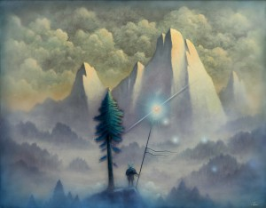 Andy Kehoe -  <strong>Illuminating Lands of Shadow</strong> (2016<strong style = 'color:#635a27'></strong>)<bR /> oil, acrylic and resin in cradled wood panel, 30 x 24 inches, (76.2 x 60.96 cm) $7,500