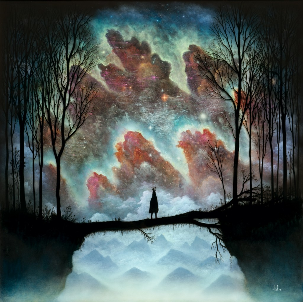 Andy Kehoe -  <strong>Multiversal Coalescence</strong> (2016<strong style = 'color:#635a27'></strong>)<bR /> oil, acrylic and resin in cradled wood panel, 30 x 30 inches, (76.2 x 76.2 cm)