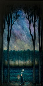 Andy Kehoe -  <strong>Nascent Musings of Incorporeal Designs</strong> (2016<strong style = 'color:#635a27'></strong>)<bR /> oil, acrylic and resin in cradled wood panel, 16 x 30 inches, (40.64 x 76.2 cm)