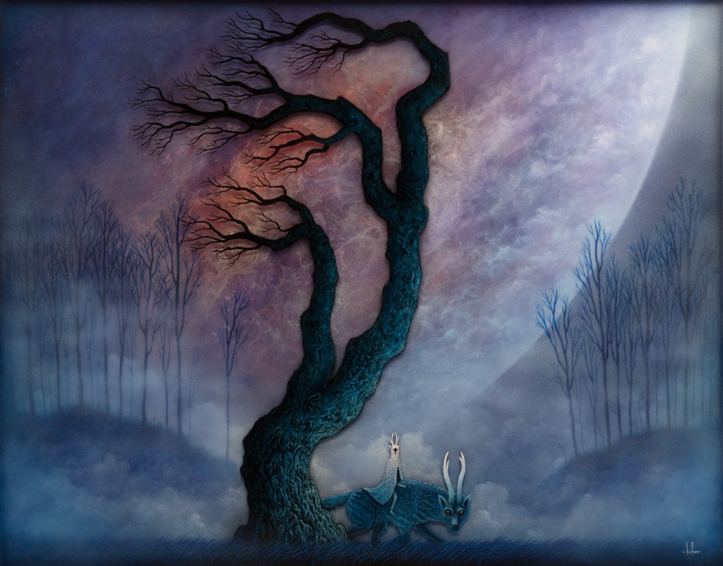 Andy Kehoe -  <strong>Patrol of the Dusk Warden</strong> (2016<strong style = 'color:#635a27'></strong>)<bR /> oil, acrylic and resin in cradled wood panel, 30 x 24 inches, (76.2 x 60.96 cm)