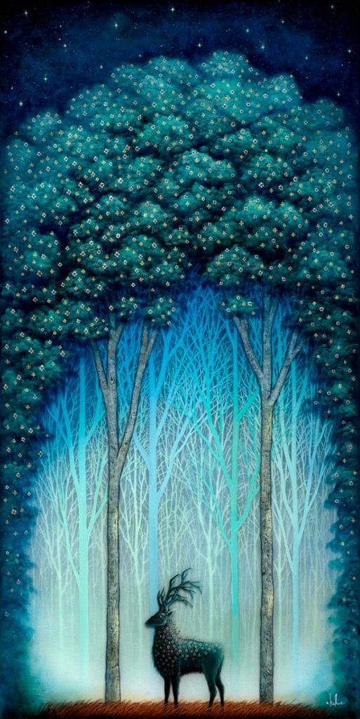 Andy Kehoe -  <strong>Sacred Beast</strong> (2016<strong style = 'color:#635a27'></strong>)<bR /> oil, acrylic and resin in cradled wood panel, 16 x 30 inches, (40.64 x 76.2 cm)