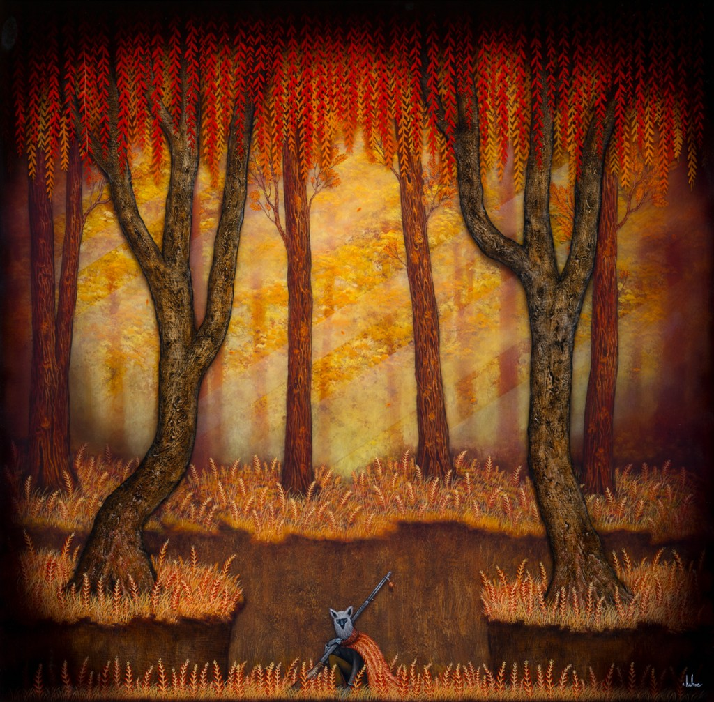 Andy Kehoe -  <strong>The Hunter</strong> (2016<strong style = 'color:#635a27'></strong>)<bR /> oil, acrylic and resin in cradled wood panel, 30 x 30 inches, (76.2 x 76.2 cm)