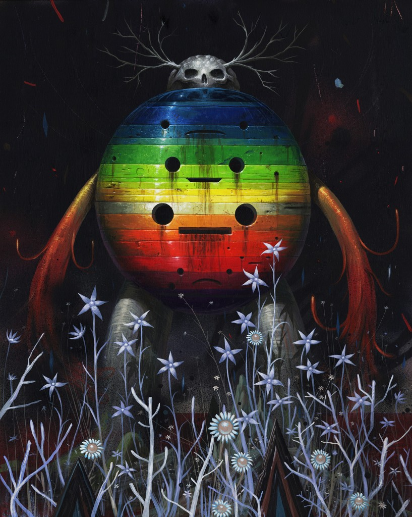 Jeff Soto -  <strong>Beware Beautiful Night</strong> (2016<strong style = 'color:#635a27'></strong>)<bR /> acrylic on wood (framed),  29.75 x 23.75 inches, (75.6 x 60.3 cm), framed: 31 x 25.25 inches, (78.7 x 64.1 cm)