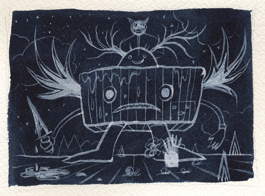 Jeff Soto -  <strong>Bordeaux</strong> (2016<strong style = 'color:#635a27'></strong>)<bR /> watercolor on Arches paper, 3.25 x 4.25 inches, (8.3 x 10.8 cm)