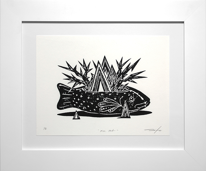 Jeff Soto -  <strong>Fish Pot edition 1/6</strong> (2016<strong style = 'color:#635a27'></strong>)<bR /> relief print on Arches paper,  9 x 12 inches, (22.9 x 30.5 cm), framed: 15.5 x 18.5 inches, (39.4 x 47 cm)