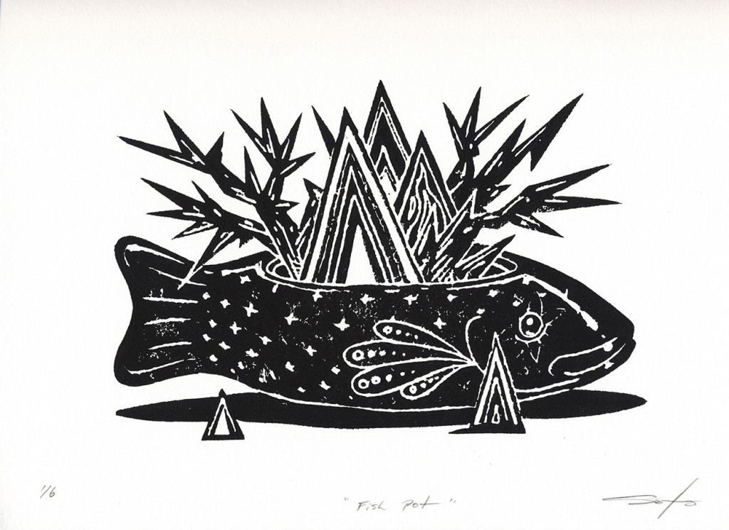Jeff Soto -  <strong>Fish Pot edition 3/6 and 5/6</strong> (2016<strong style = 'color:#635a27'></strong>)<bR /> relief print on Arches paper, 9 x 12 inches, (22.9 x 30.5 cm)