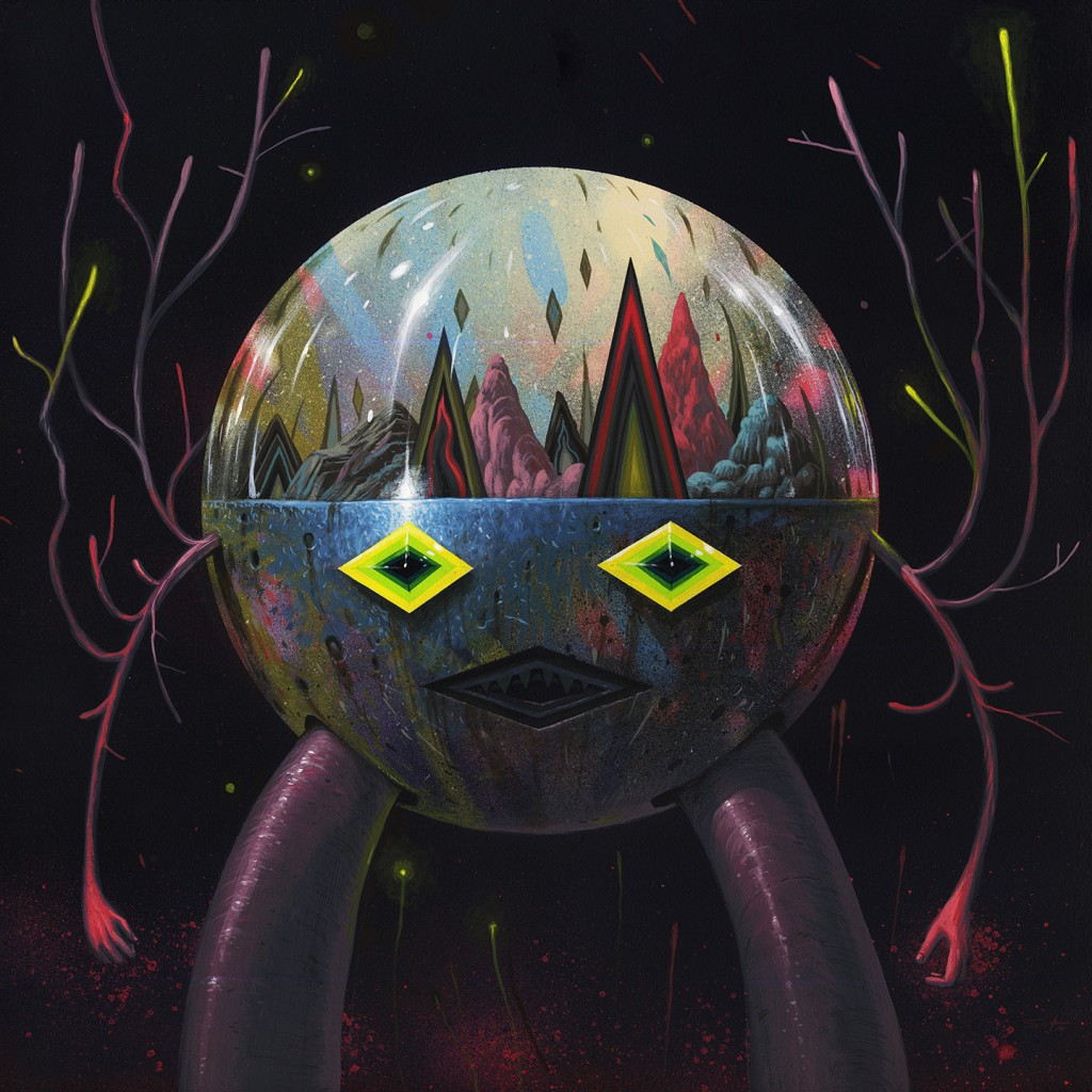 Jeff Soto -  <strong>Grey Terrarium Keeper</strong> (2016<strong style = 'color:#635a27'></strong>)<bR /> acrylic on wood, 19.75 x 19.75 inches, (50.2 x 50.2 cm). Framed: 21 x 21 inches, (53.3 x 53.3 cm)
