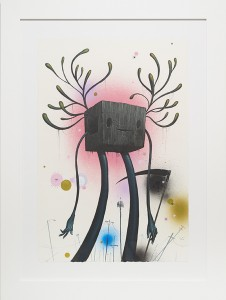 Jeff Soto -  <strong>Grim Reaper</strong> (2014<strong style = 'color:#635a27'></strong>)<bR /> acrylic and aerosol on paper,  22 x 15 inches,  (56 x 38 cm), framed: 30 x 22.5 inches, (76.2 x 57.1 cm)