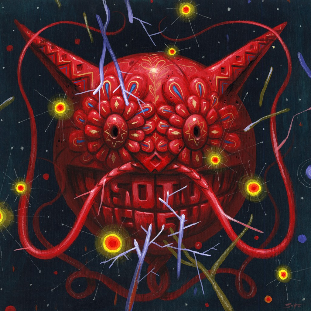 Jeff Soto -  <strong>Guanajuato Mask</strong> (2016<strong style = 'color:#635a27'></strong>)<bR /> acrylic on wood (framed), 12 x 12 inches (30.5 x 30.5 cm), framed: 13.25 x 13.25 inches, (33.7 x 33.7 cm)
