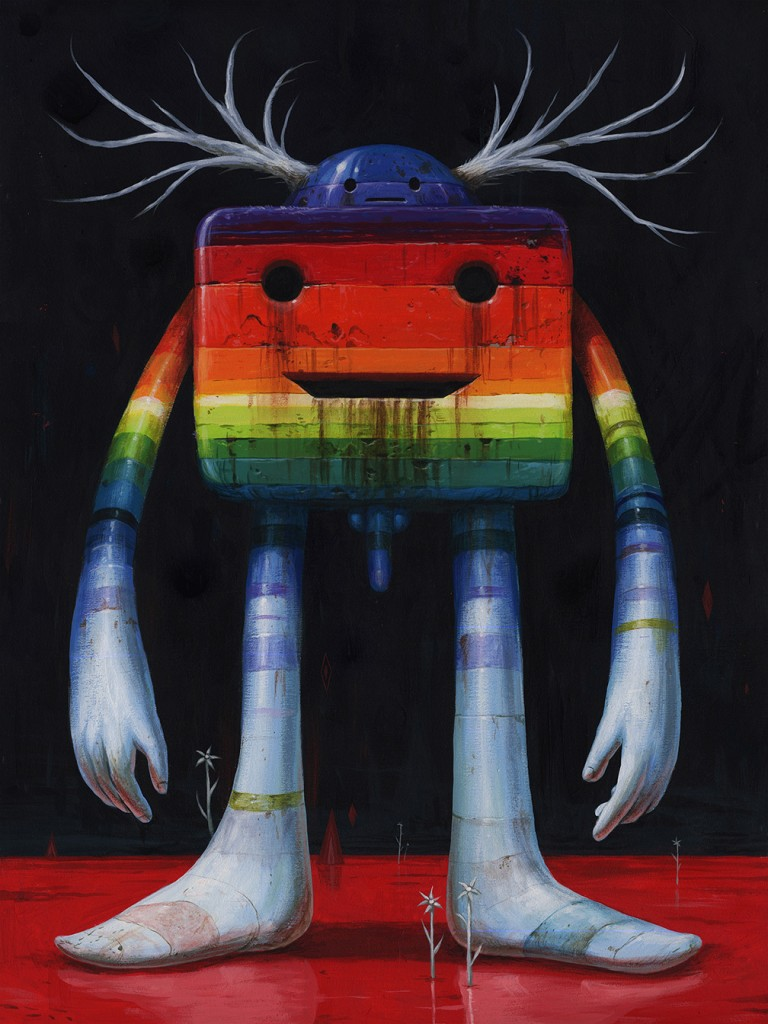 Jeff Soto -  <strong>Happy and Sad</strong> (2016<strong style = 'color:#635a27'></strong>)<bR /> acrylic on wood (framed), 24 x 18 inches, (61 x 45.7 cm), framed: 25.25 x 19.25 inches, (64.1 x 48.9 cm)