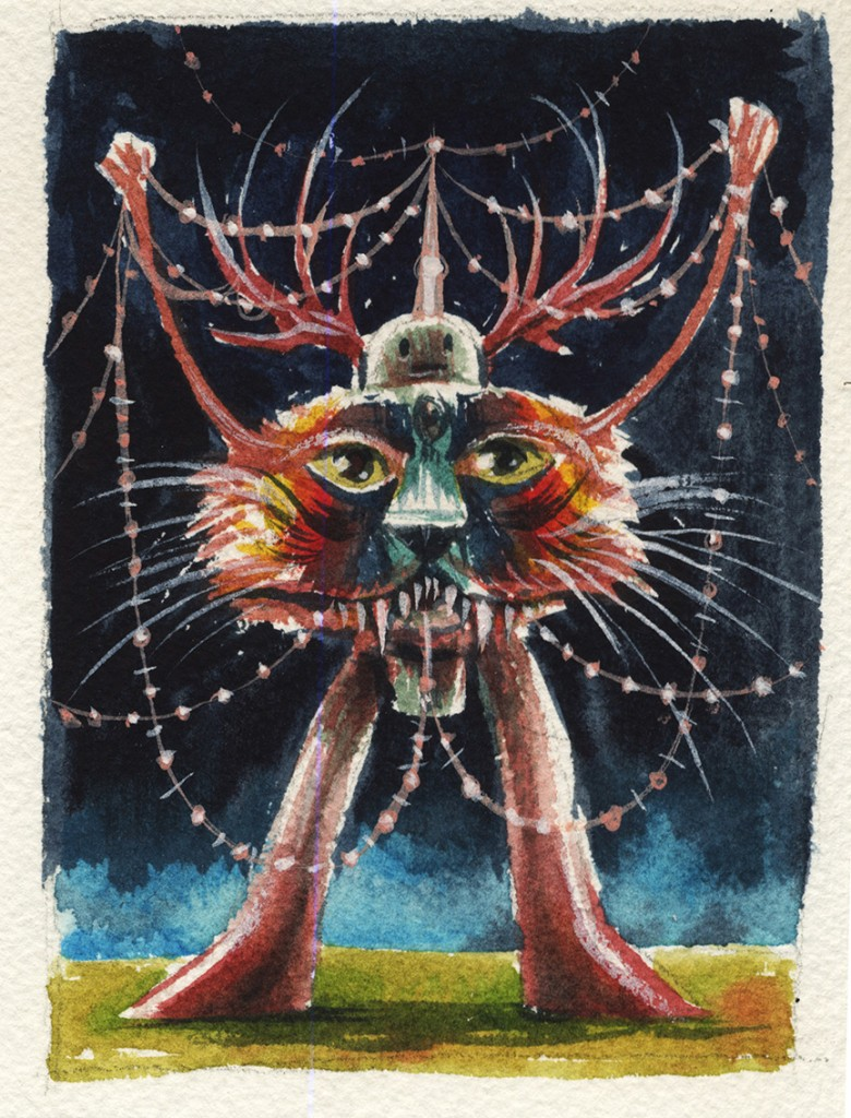 Jeff Soto -  <strong>Lyon</strong> (2016<strong style = 'color:#635a27'></strong>)<bR /> watercolor on Arches paper, 4.5 x 3.5 inches, (11.4 x 8.9 cm)