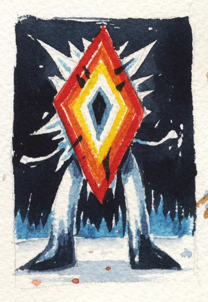 Jeff Soto -  <strong>Minneapolis</strong> (2016<strong style = 'color:#635a27'></strong>)<bR /> watercolor on Arches paper, 3.25 x 2.25 inches, (8.3 x 5.7 cm)