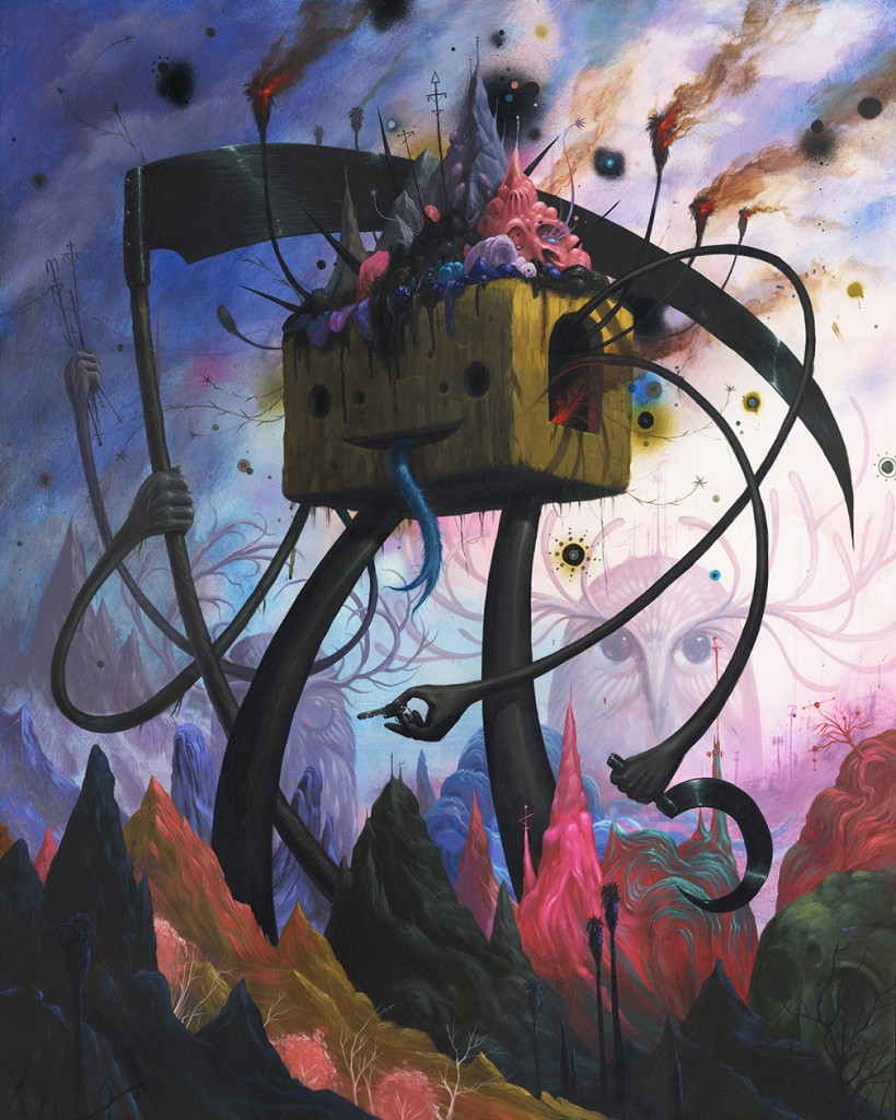 Jeff Soto -  <strong>Mountain Giants</strong> (2014<strong style = 'color:#635a27'></strong>)<bR /> acrylic on wood (framed), 50 x 40 inches, (127 x 101.6 cm), framed: 51.25 x 41.25 inches, (130.2 x 104.8 cm)