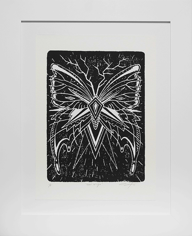 Jeff Soto -  <strong>New Wings edition 1/8</strong> (2016<strong style = 'color:#635a27'></strong>)<bR /> relief print on Arches paper, 15 x 11 inches, (38.1 x 27.9 cm), framed: 21.5 x 17.5 inches, (54.6 x 44.5 cm)