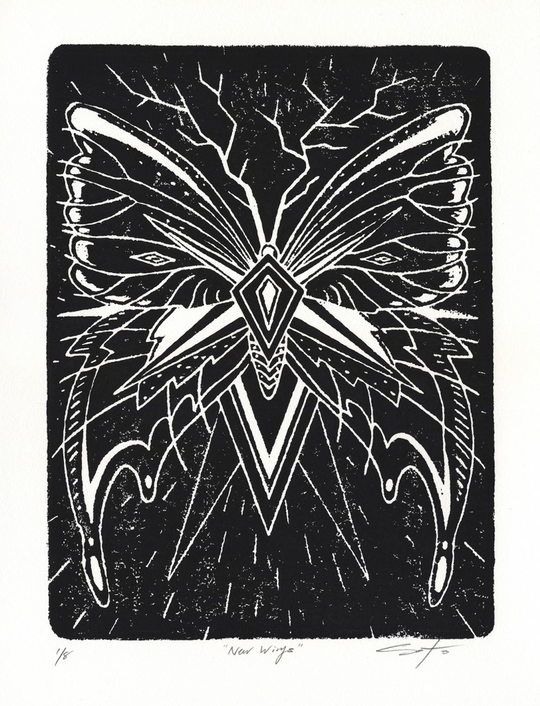 Jeff Soto -  <strong>New Wings edition 3/8 and 5/8</strong> (2016<strong style = 'color:#635a27'></strong>)<bR /> relief print on Arches paper, 15 x 11 inches, (38.1 x 27.9 cm)
