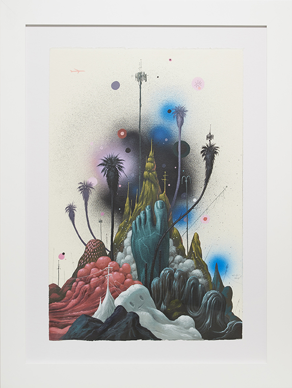 Jeff Soto -  <strong>Night Garden</strong> (2014<strong style = 'color:#635a27'></strong>)<bR /> acrylic and aerosol on paper,  22 x 15 inches,  (56 x 38 cm), framed: 30 x 22.5 inches, (76.2 x 57.1 cm)