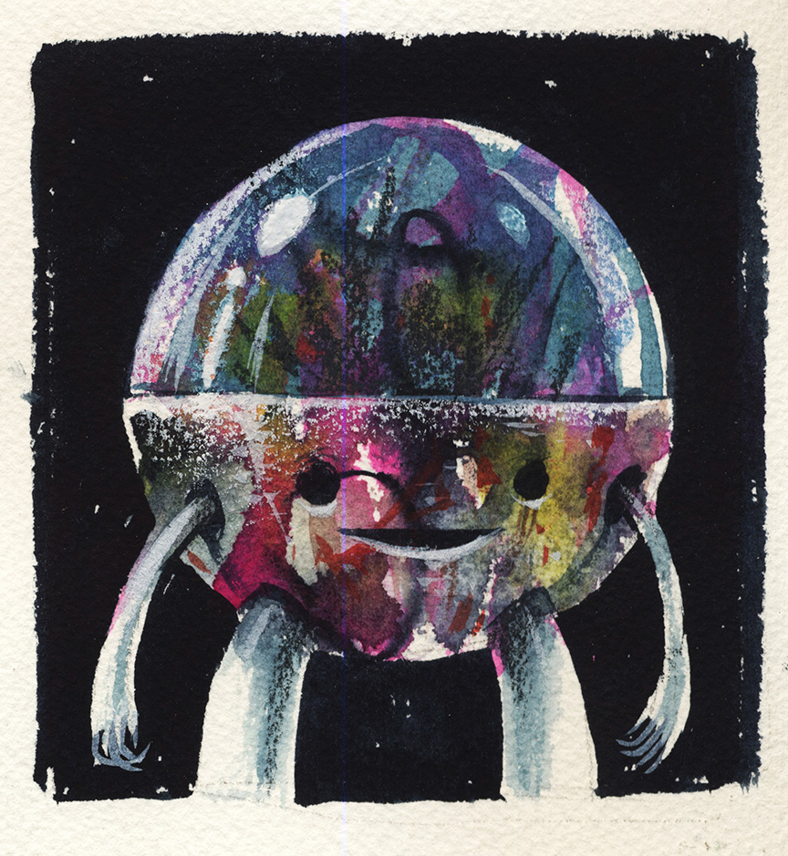Jeff Soto -  <strong>Nuremberg</strong> (2016<strong style = 'color:#635a27'></strong>)<bR /> watercolor on Arches paper, 4.75 x 4.25 inches, (12.1 x 10.8 cm)